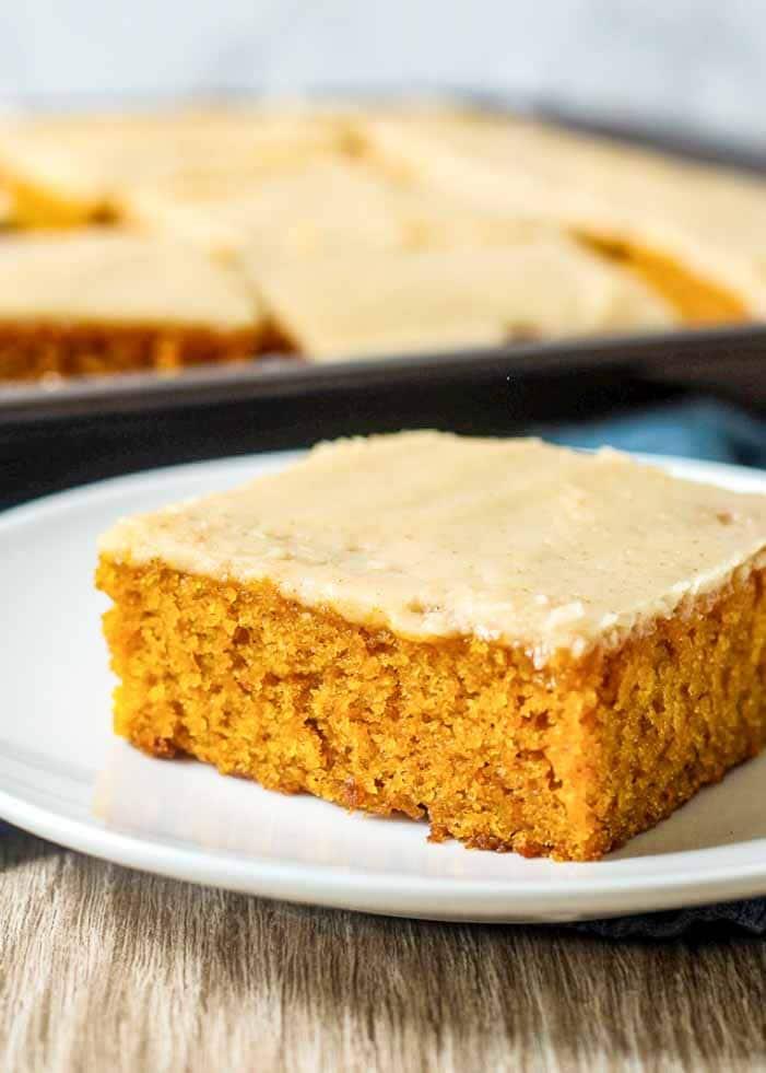 Pumpkin Sheet Cake with Brown Butter is a fall dessert you'll love.