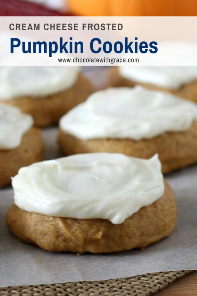 bakery style pumpkin cookies with cream cheese frosting
