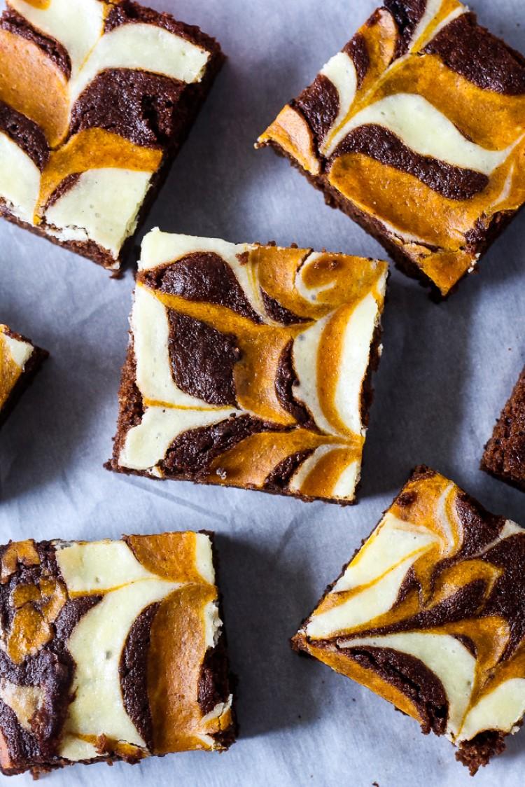 Pumpkin Cream Cheese Swirled Brownies