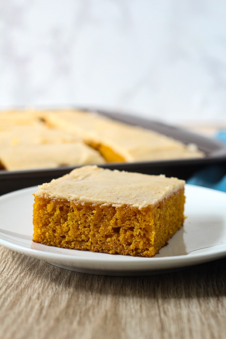pumpkin sheet cake with brown butter icing