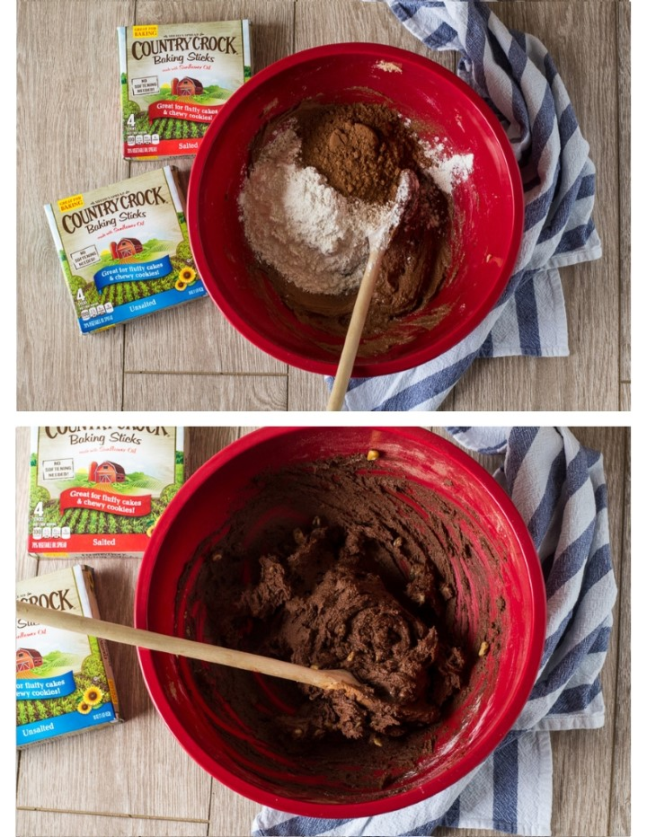 How to make chocolate hazelnut cookies. Cookie dough in a bowl