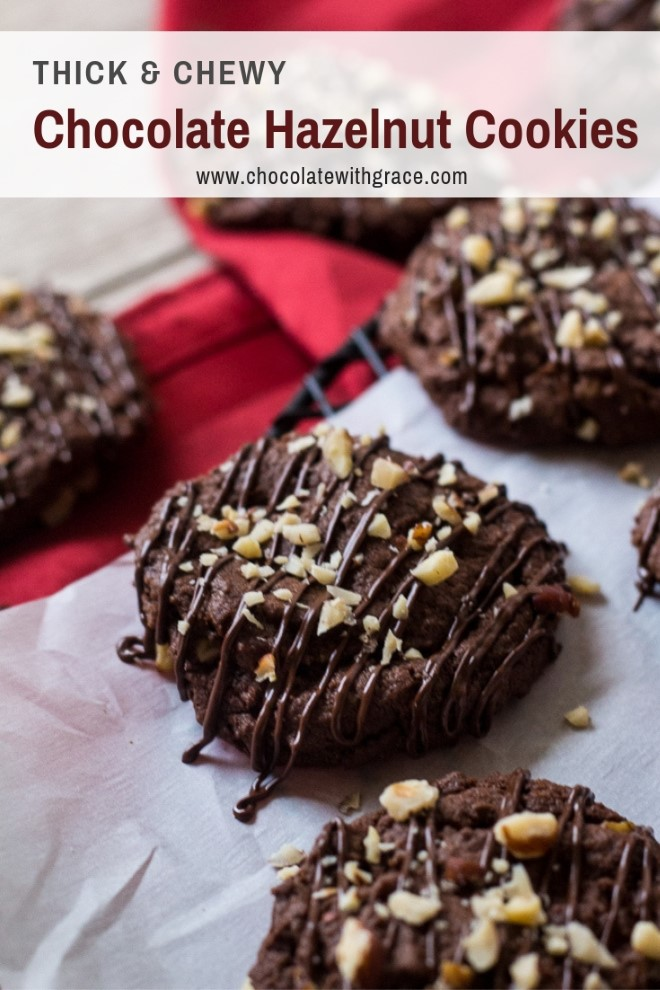 Chocolate Hazelnut Cookies on parchment paper cooling on wire rack