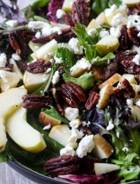 Lettuce Salad with apples, pecans and feta cheese