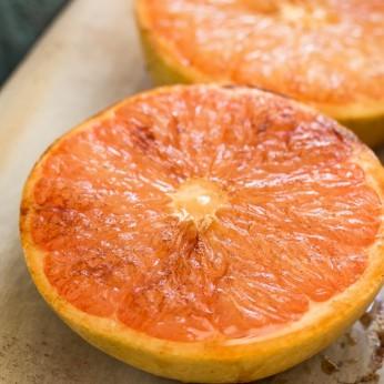 closeup of broiled grapefruit halves