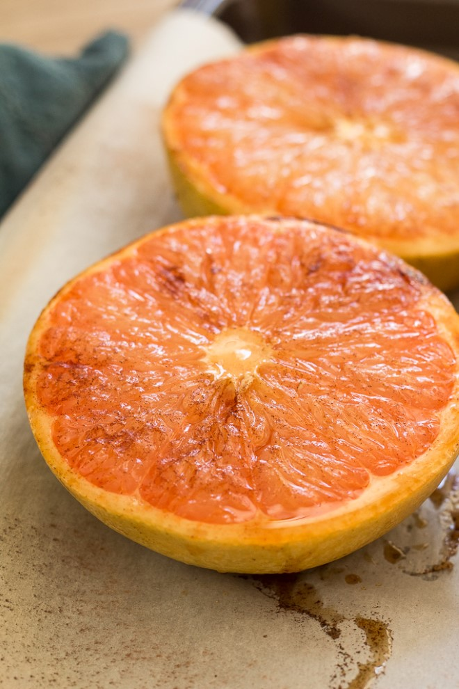 closeup of broiled grapefruit halves