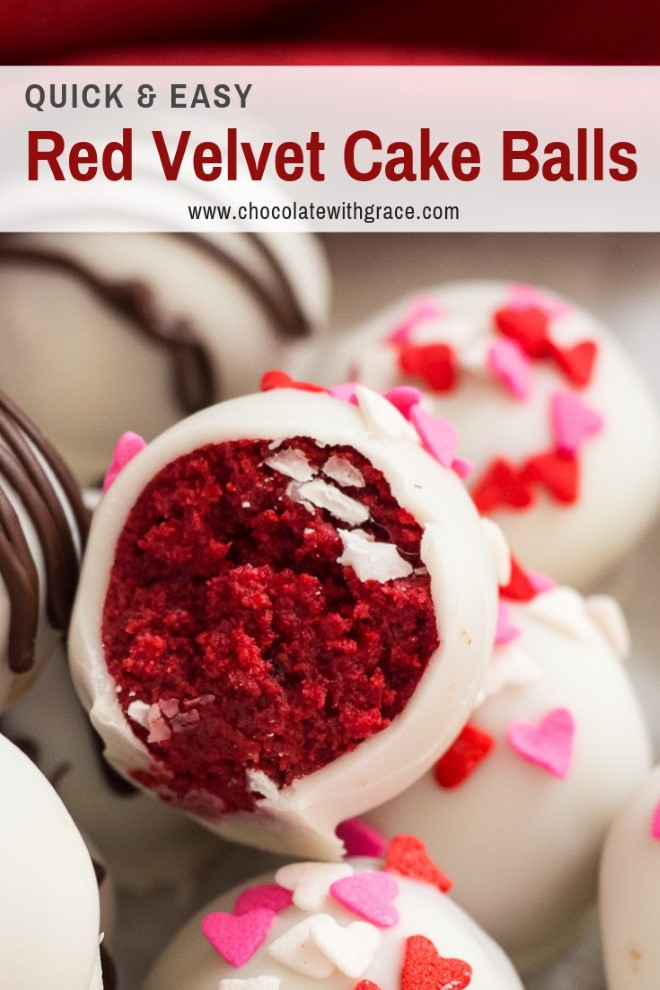 red velvet cake balls dipped in white chocolate with sprinkles