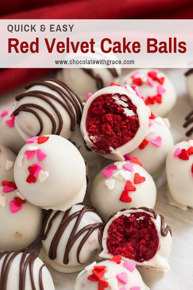 red velvet cake balls some with sprinkles and some with drizzled chocolate