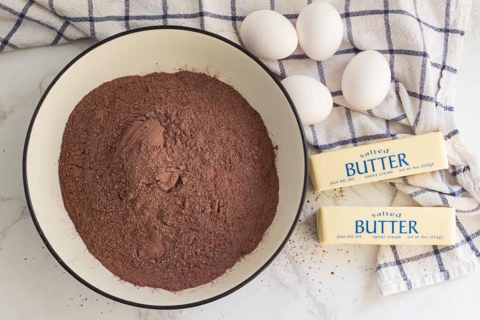 homemade brownie mix with eggs and butter