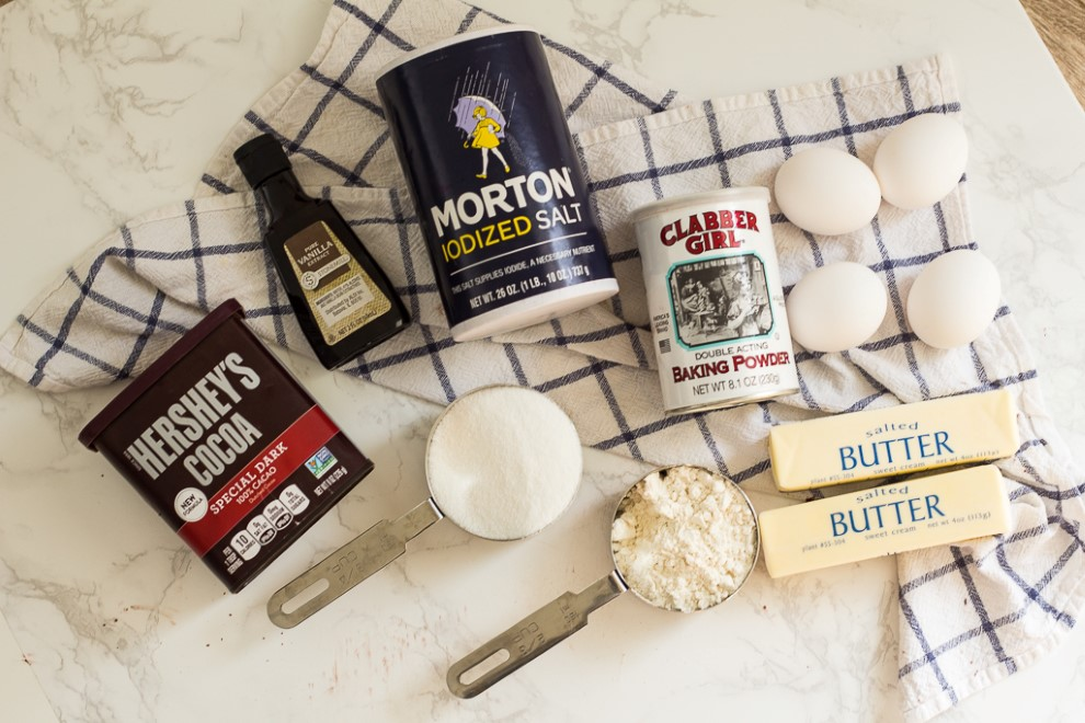 The ingredients for cocoa powder brownies