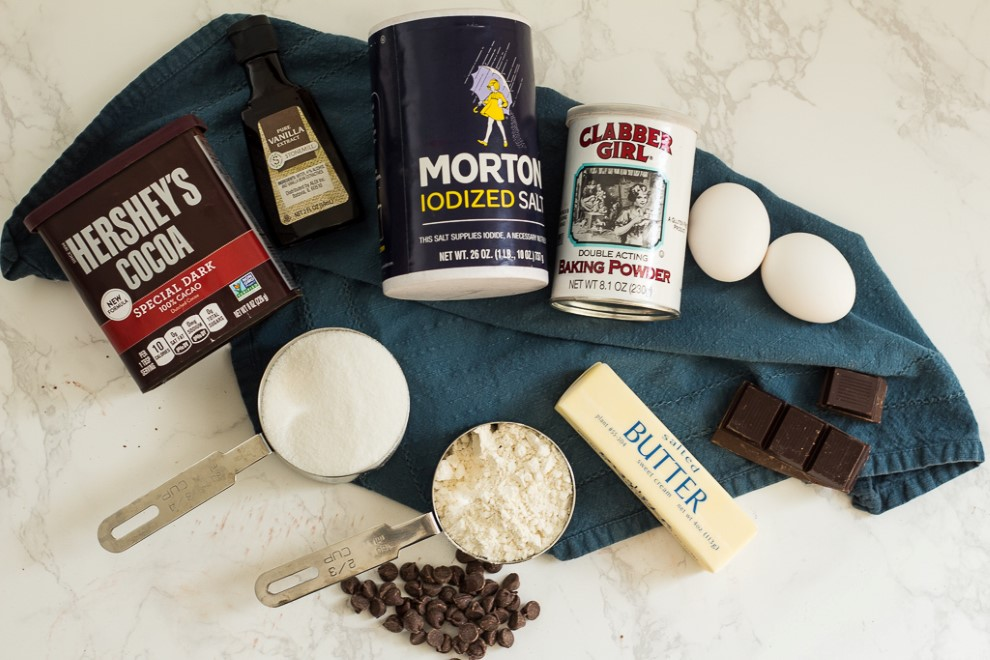 The ingredients for the best homemade brownies in the world from scratch