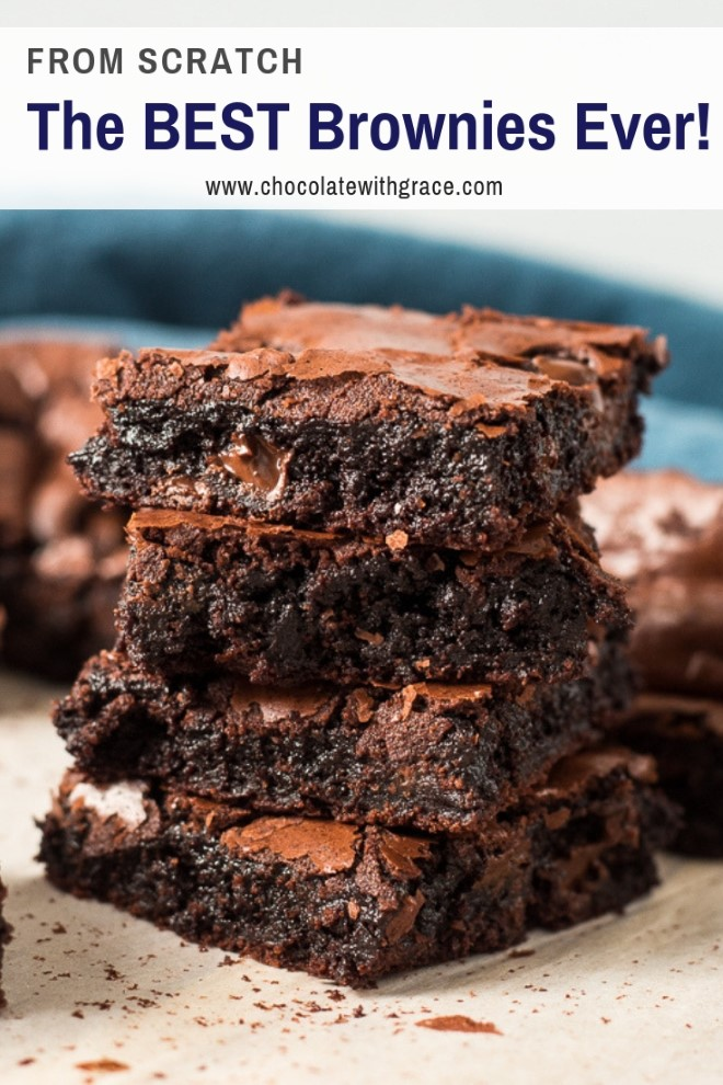 the best homemade brownies in the world from scratch with a melted chocolate chip