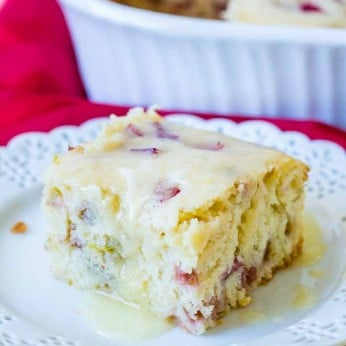 Rhubarb Cake with Butter Sauce