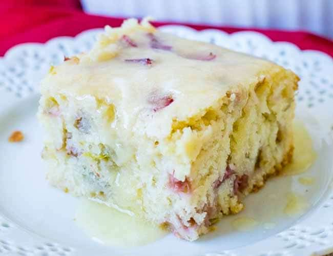 Tangy Rhubarb Cake with Sweet Butter Sauce