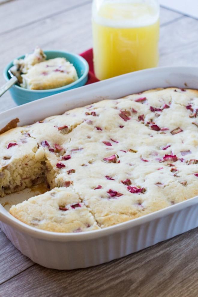 rhubarb cake in a 9 x 13 inch pan