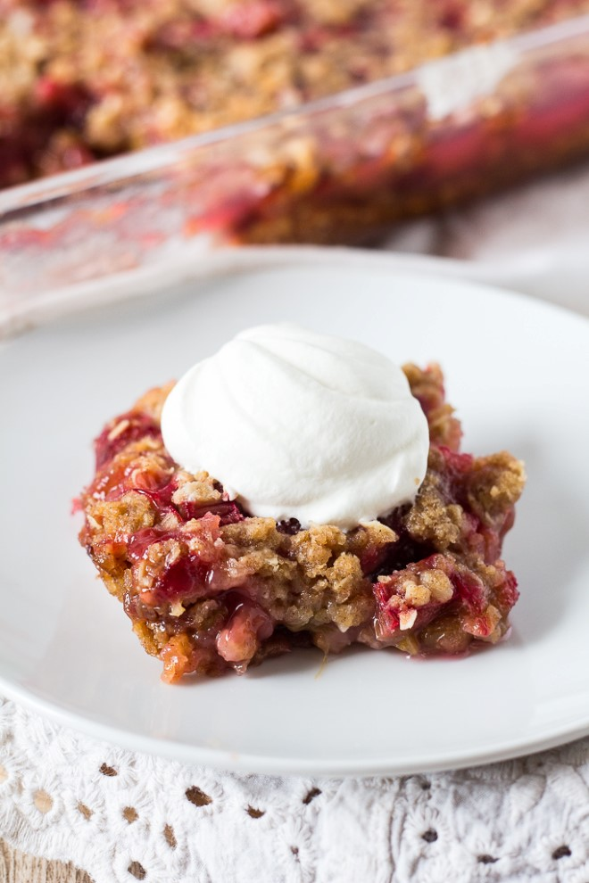 Rhubarb Crunch with whipped cream
