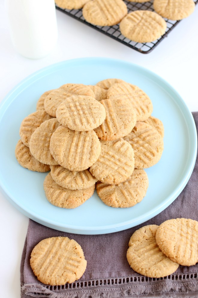The Best Peanut Butter Cookies are fresh from the oven on a cooling rack