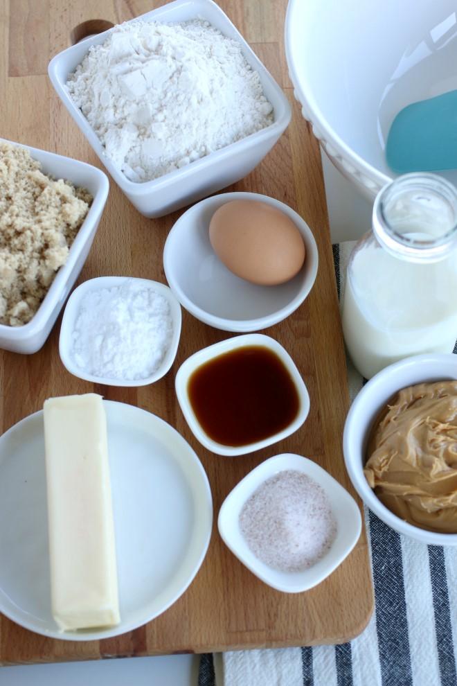 Ingredients to make Peanut Butter Cookies