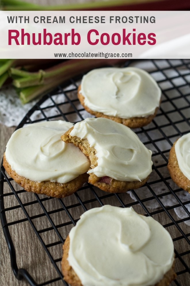 rhubarb oatmeal cookies with cream cheese frosting