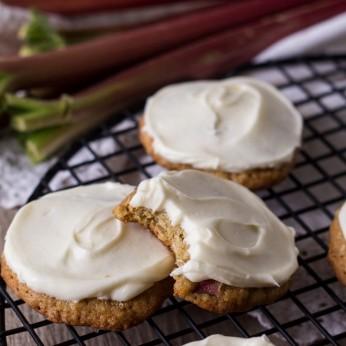 Rhubarb Cookies on a baking rack