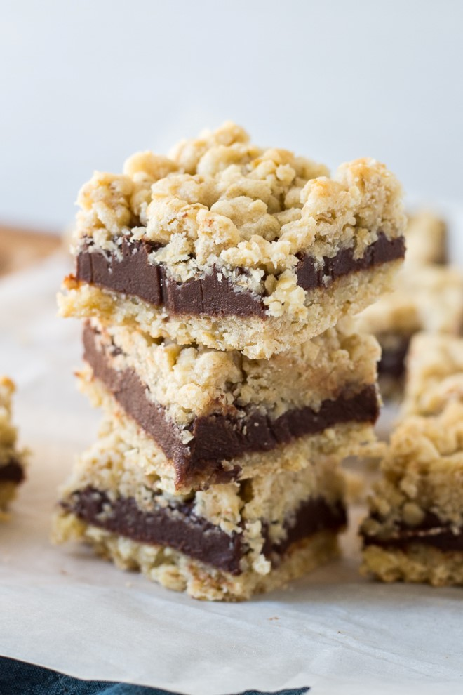 chocolate revel bars in a stack