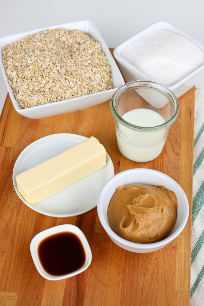 Ingredients to make no bake peanut butter cookies.