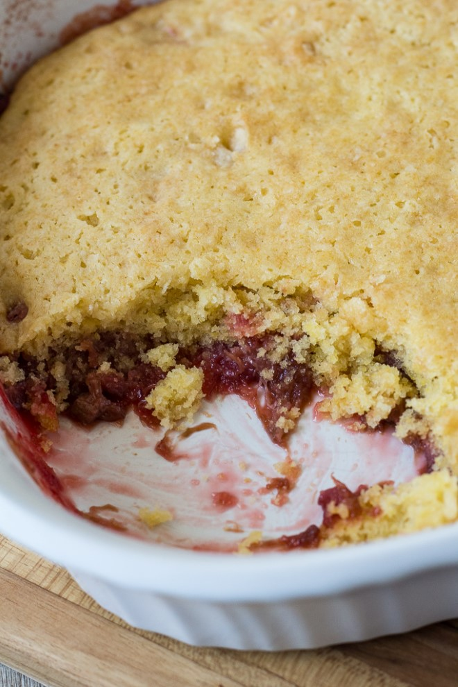 rhubarb dump cake made with yellow cake mix