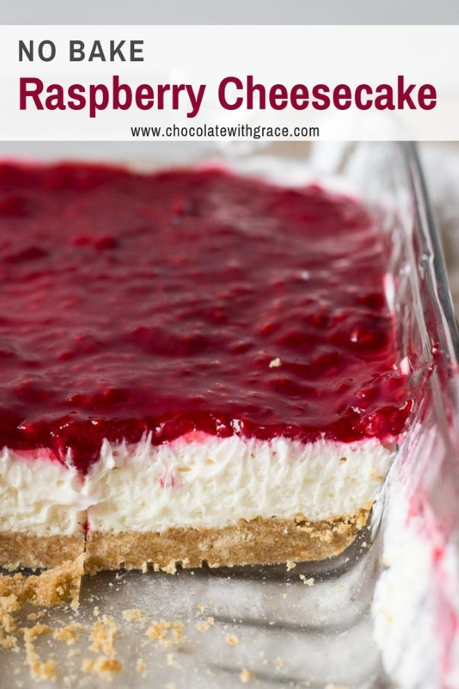 layered no bake raspberry cheesecake