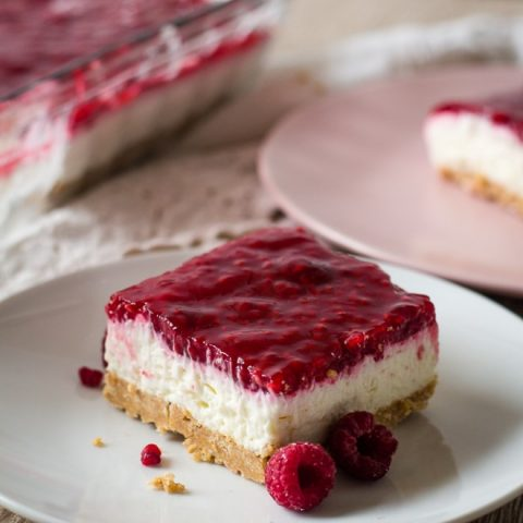 homemade no bake raspberry cheesecake