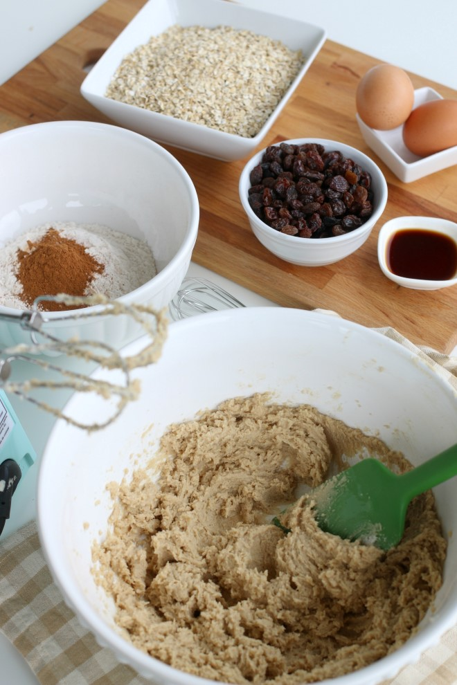 Cooking oatmeal cookies with raisins.