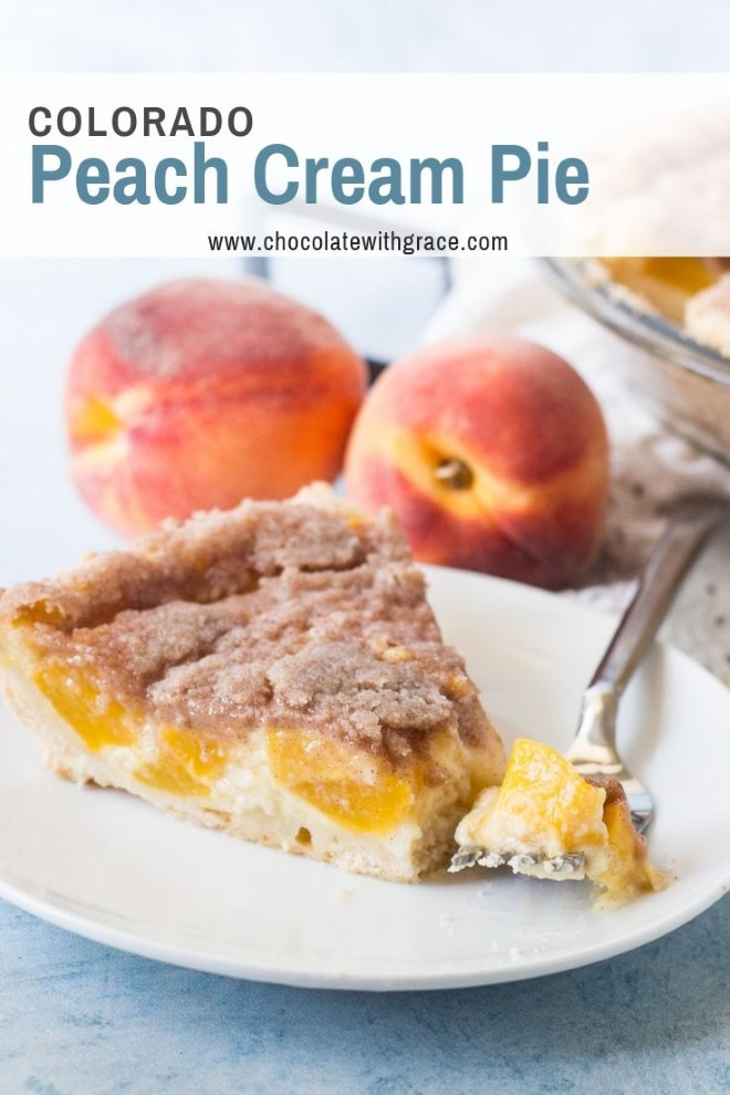 peach cream pie with peaches in the background
