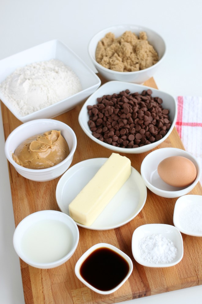 Ingredients to make peanut butter chocolate chip cookies