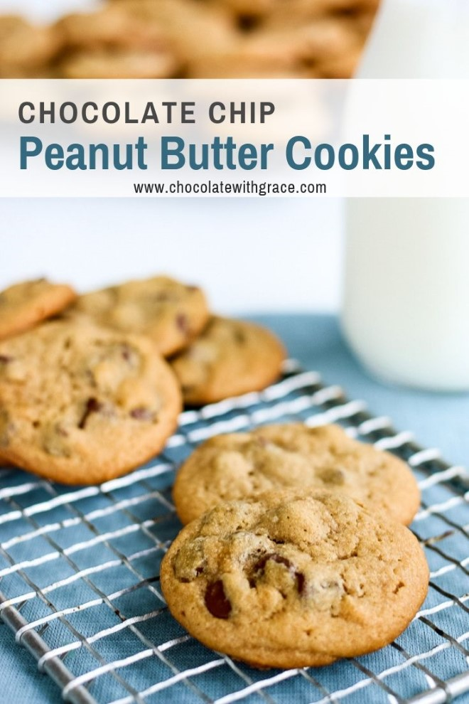 Peanut butter chocolate chip cookies served with milk