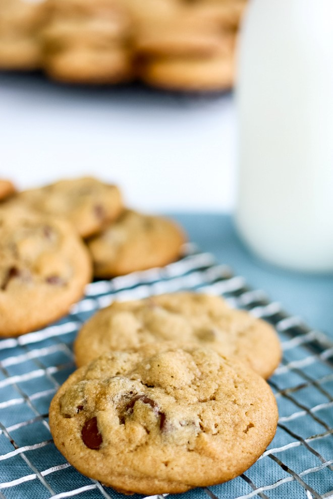 Peanut butter chocolate chip cookie recipe on a cooling rack