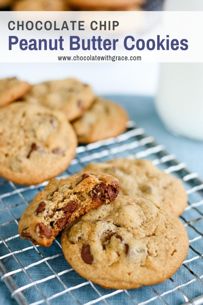 A peanut butter chocolate chip cookie with a bite taken from it.
