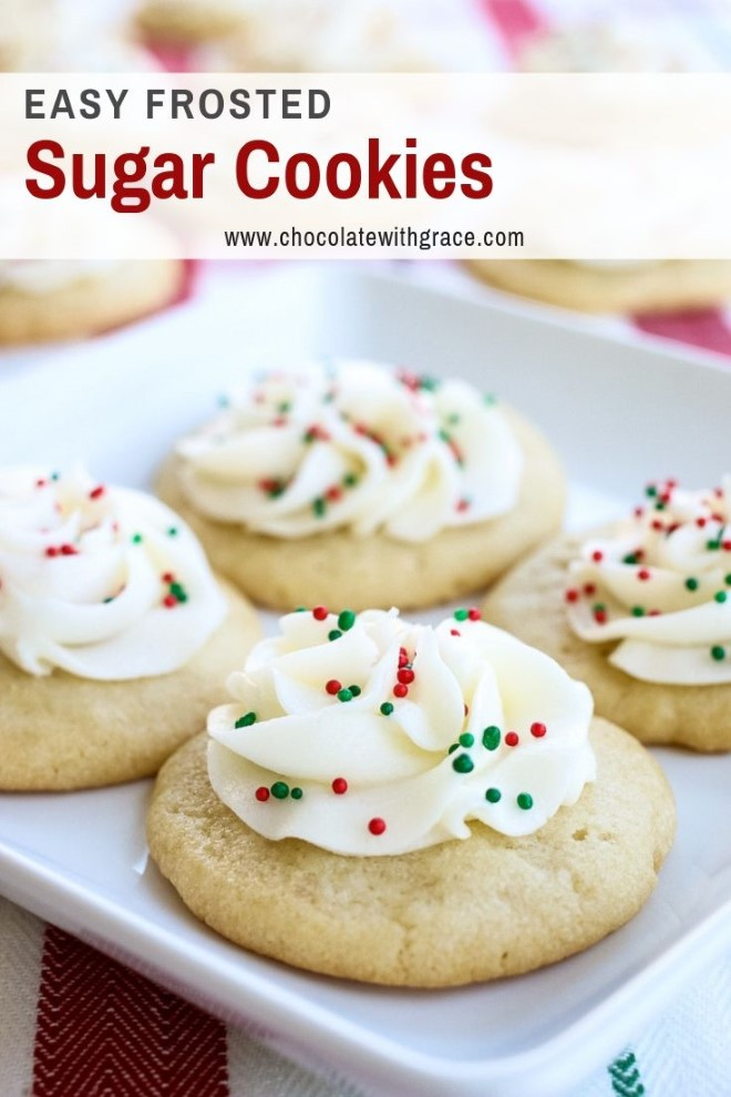 sugar cookies with frosting and christmas sprinkles