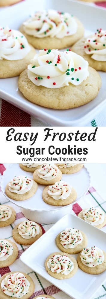sugar cookies with piped buttercream frosting