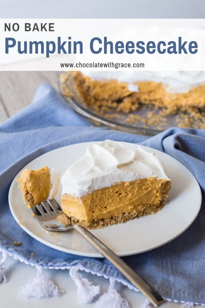 a bite on a fork of no bake pumpkin cheesecake