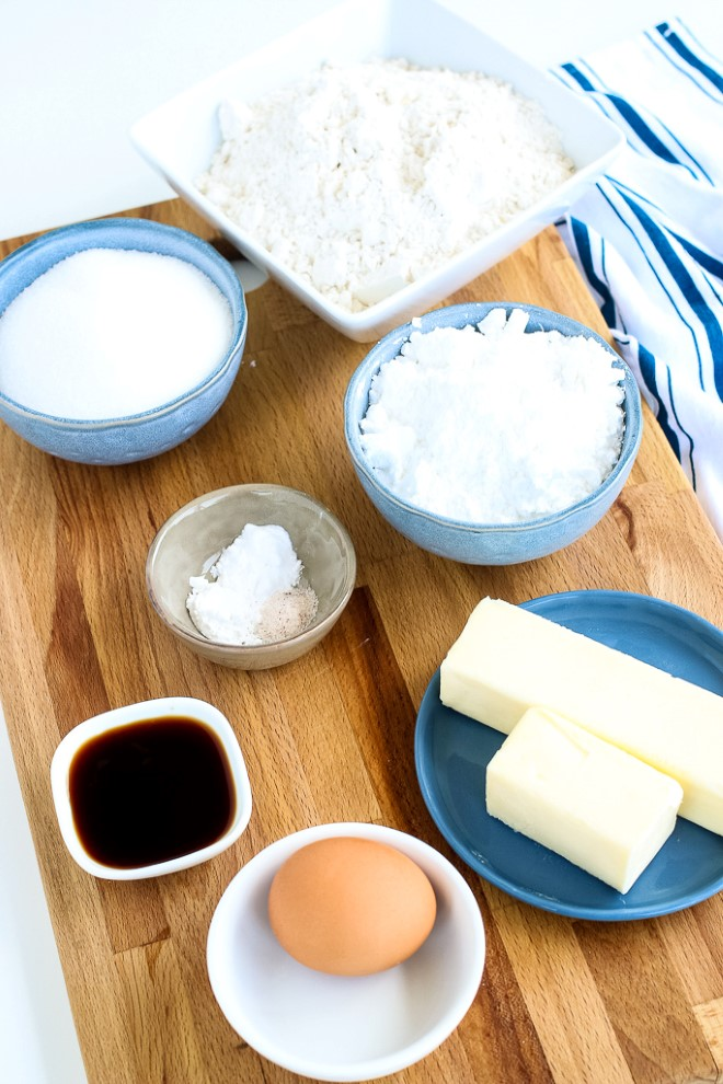 Ingredients to make a sugar cookies recipe.
