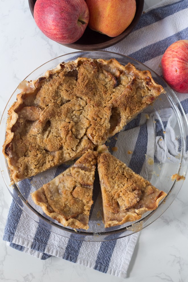 an apple pie with streusel topping