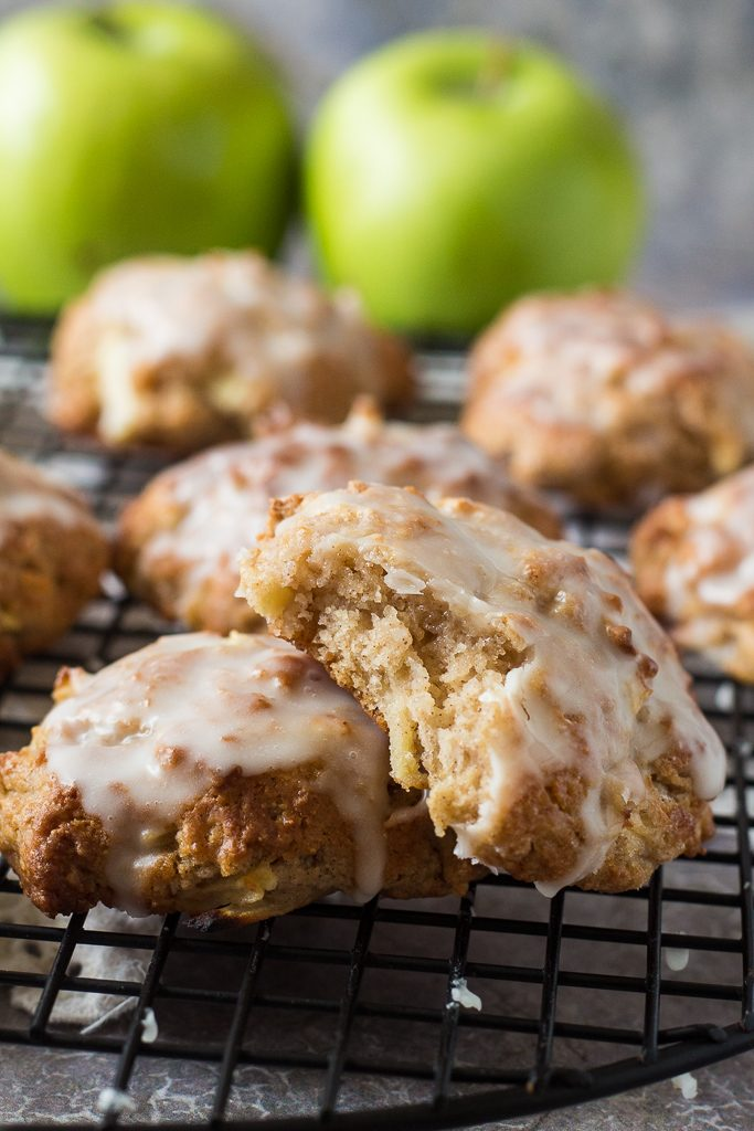 baked apple fritters with a bite taken out