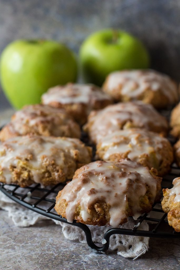 easy baked apple fritters on a cooling rack