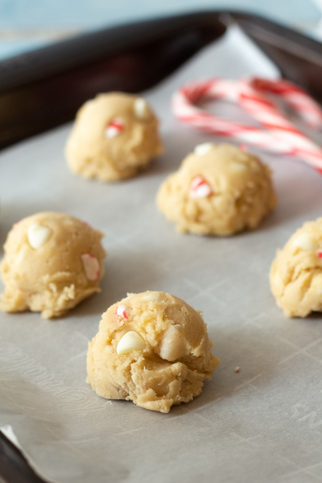 white chocolate peppermint cookie dough ready to be baked