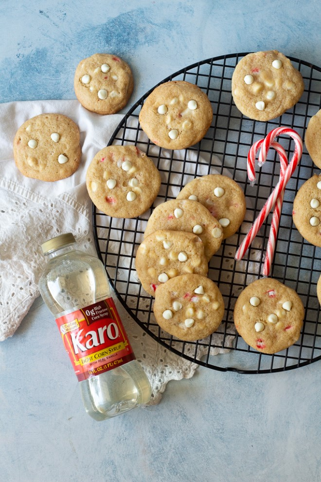 chewy white chocolate peppermint cookies on a baking rack
