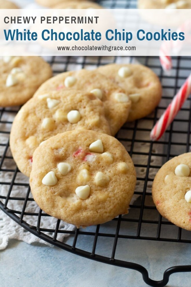 chewy peppermint and white chocolate chip cookies