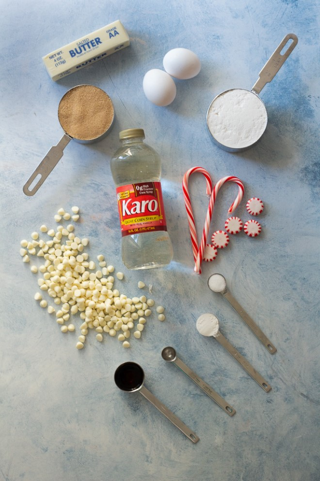 ingredients for white chocolate peppermint cookies