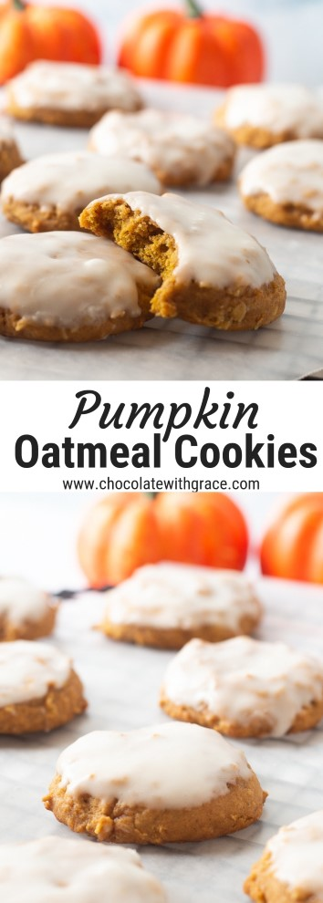 iced pumpkin oatmeal cookies