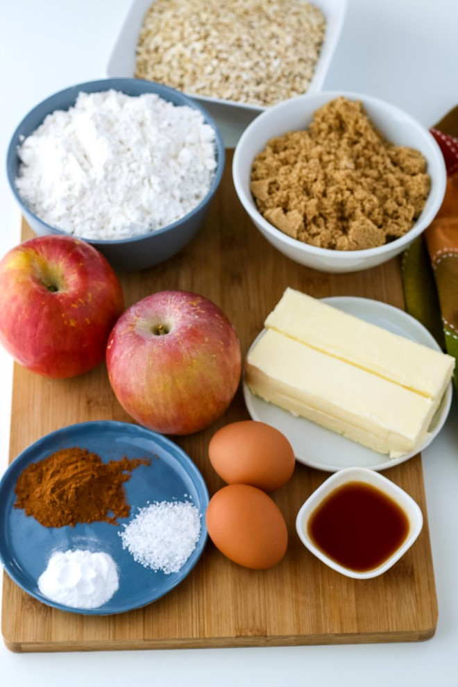 Ingredients needed for making oatmeal apple cookies with cream cheese frosting.