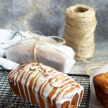 cherry almond quick bread wrapped for gifts