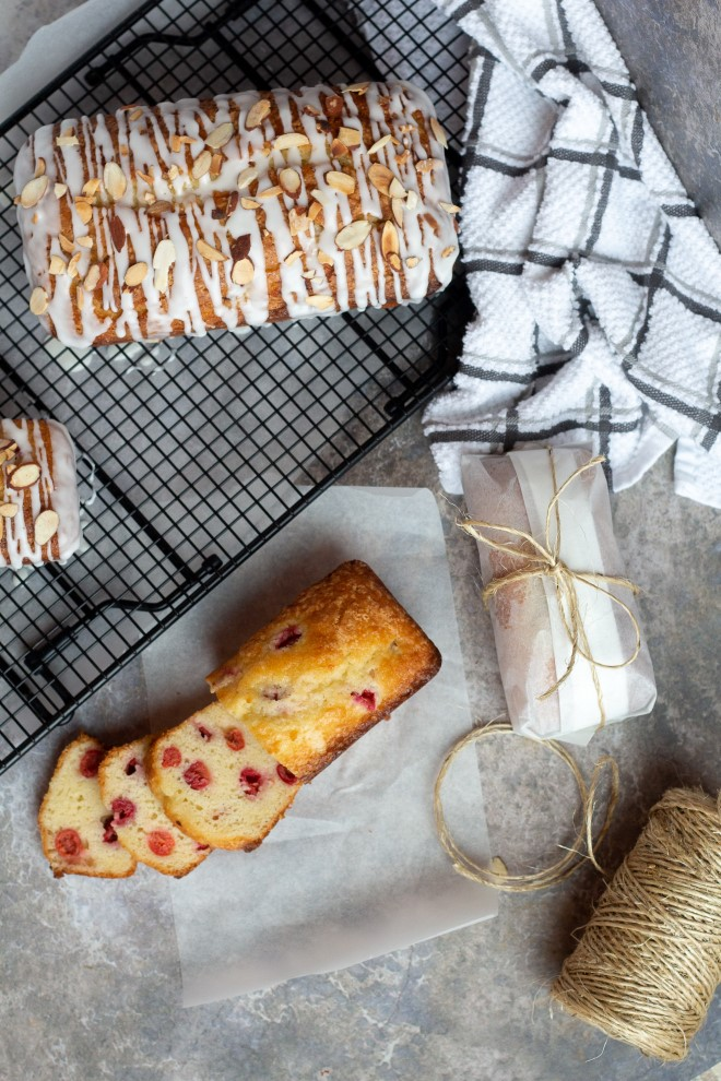 glazed cherry almond quick bread for gifts