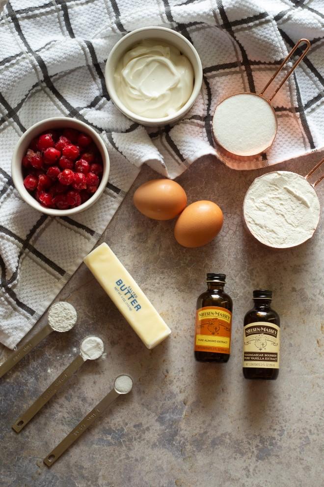 ingredeints for cherry almond quick bread
